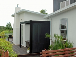 Bask louvre roof custom made to fit this outdoor area outside the kitchen door