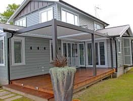 Twin bay Bask louvre roof fitted on large outdoor deck NZ